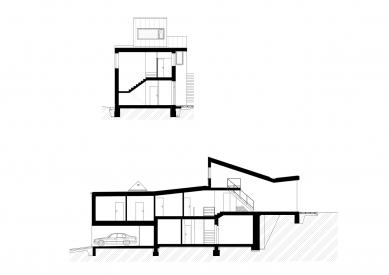 Rodinný dům v Líšni - Podélný a příčný řez - foto: Studio New Work