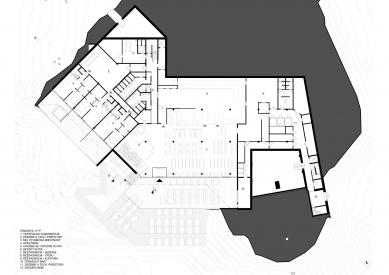Bachledka – vrcholová vybavenosť - Půdorys 1.pp - foto: Compass architekti