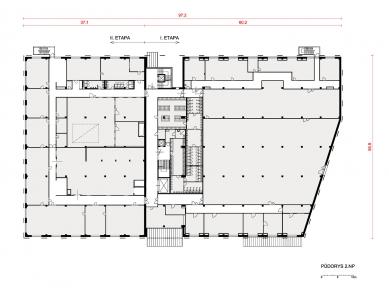 Výrobní a administrativní areál firmy Tescan II. - Půdorys 2NP