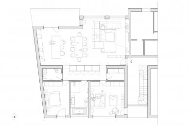 Byt K - Půdorys bytu - foto: Grau Architekti