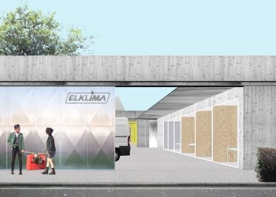 Sídlo firmy Elklima - Koláž přední části - foto: žalský architekti