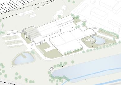Průmyslová hala Liko-Vo - Axonometrie výrobního areálu - foto: Fránek architects
