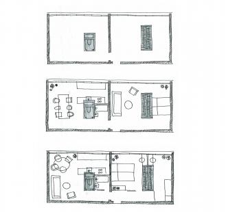 Experimentální byt na experimentálním sídlišti Invalidovna - Půdorys