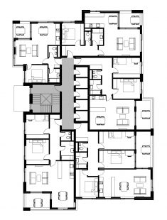 Bytové domy 13 a 22 v Podzámčí - Bytový dům 13 - půdorys typického podlaží