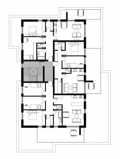 Bytové domy 13 a 22 v Podzámčí - Bytový dům 13 - půdorys nejvyššího podlaží