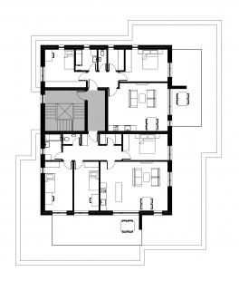 Bytové domy 13 a 22 v Podzámčí - Bytový dům 22 - půdorys nejvyššího podlaží