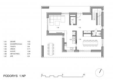 Rodinný dům s verandou - Půdorys 1NP