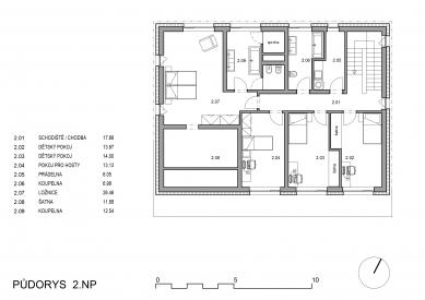 Rodinný dům s verandou - Půdorys 2NP