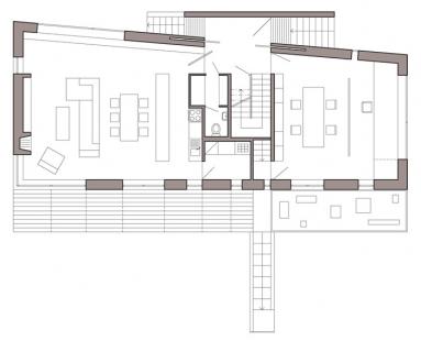 Rodinný dům s ateliérem - Půdorys 1np - foto: © Architektonický ateliér KAAMA, Praha