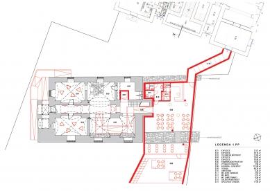 Rekonstrukce Müllerova domu - Půdorys 1PP