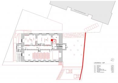 Rekonstrukce Müllerova domu - Půdorys 1NP