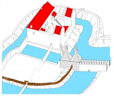 Rekonstrukce Müllerova domu - Konec 13. století - Müllerův dům jako detašovaná kuchyně se dvěma dymníkovými komíny
