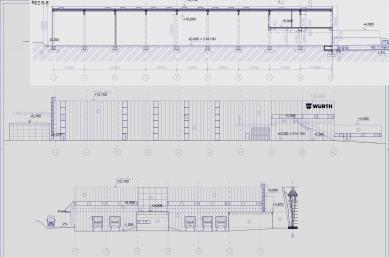 Výrobní hala WÜRTH - Řez a pohledy