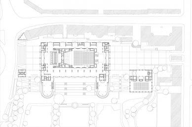 Kongresové centrum Nový výmarský sál - Půdorys přízemí - foto: Gerkan, Marg und Partner