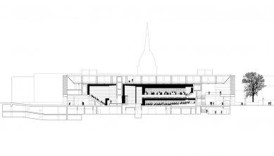 Kongresové centrum Nový výmarský sál - Podélný řez - foto: Gerkan, Marg und Partner