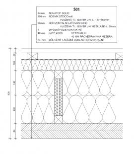 RD Rožmitál 03 - Řez obvodovou stěnou