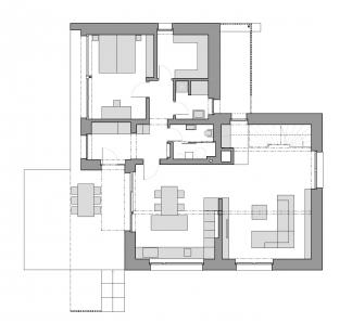 Rekonstrukce a přístavba rodinného domu u Prahy - Půdorys 1NP