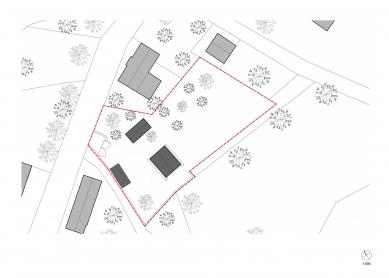 Rodinný dům pro rodiče - Situace nového návrhu - foto: TŘI.ČTRNÁCT architekti