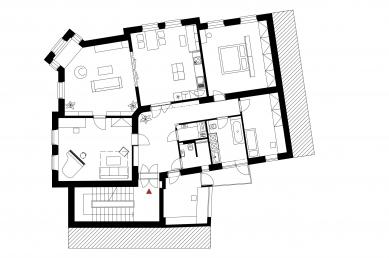 Rekonstrukce bytu v Černých Polích - Půdorys - současný stav