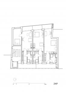 Bytový dům Vídeňská - Půdorys typického podlaží - foto: Fránek Architects s.r.o.