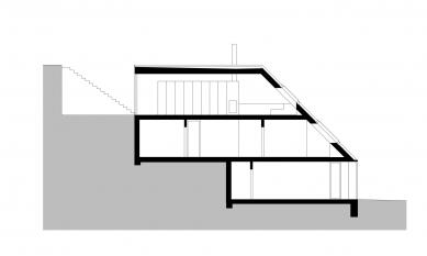 Rodinný dům v údolí Dyje - Podélný řez