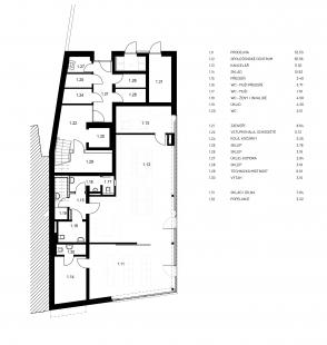 Společenské centrum Sedlčany - Bytový dům - půdorys 1NP