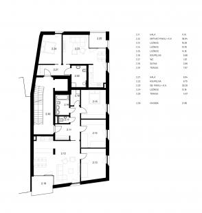 Společenské centrum Sedlčany - Bytový dům - půdorys 2NP