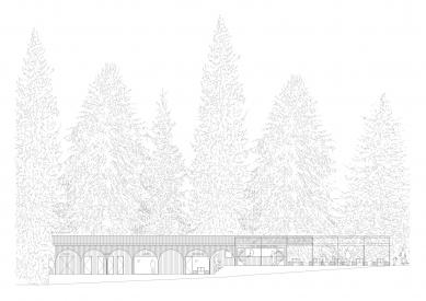 Projekt lesního koupaliště v Liberci - Čelní pohled - foto: mjölk architekti