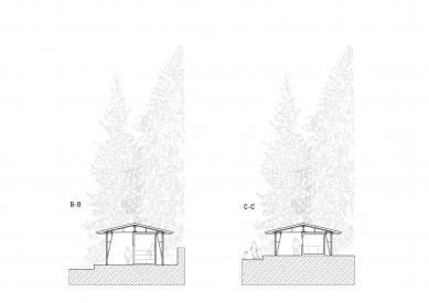 Projekt lesního koupaliště v Liberci - Příčné řezy - foto: mjölk architekti
