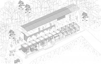 Projekt lesního koupaliště v Liberci - Axonometrie - foto: mjölk architekti