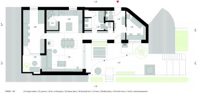 Rekonstrukce a přístavba domu vbývalé dělnické kolonii - Půdorys 1NP