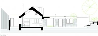 Rekonstrukce a přístavba domu vbývalé dělnické kolonii - Řezopohled A-A