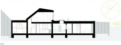 Rekonstrukce a přístavba domu vbývalé dělnické kolonii - Řezopohled B-B