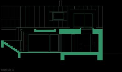 Rekonstrukce a přístavba domu vbývalé dělnické kolonii - Řezopohled C-C