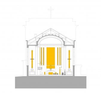 Obnova kostola Panny Márie Snežnej na Kalvárii - Příčný řez - foto: dielne NZW