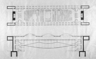 Projekt kongresového paláce vBenátkách - Půdorys a řez