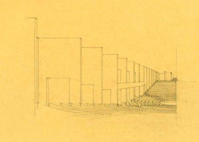 Projekt kongresového paláce vBenátkách - Perspektiva interiéru