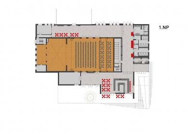 Rekonstrukce víceúčelového sálu SOUE Vejprnická - Půdorys 1.np - foto: projectstudio8
