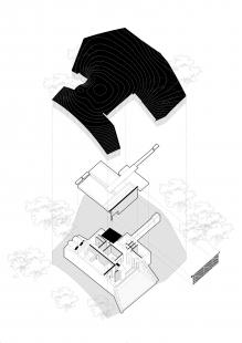 Věčná loviště - zvířecí krematorium - Rozložená axonometrie - foto: Petr Hájek Architekti
