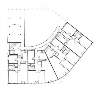 Apartment and Office Building Schwitter - Typický půdorys 2. - 5.np - foto: Herzog & de Meuron