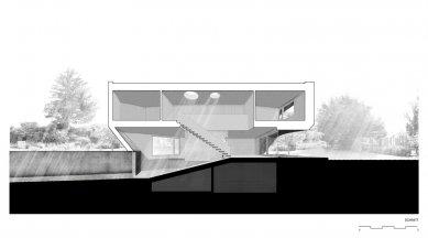 Zakřivený dům - Podélný řez - foto: Daluz Gonzalez Architekten