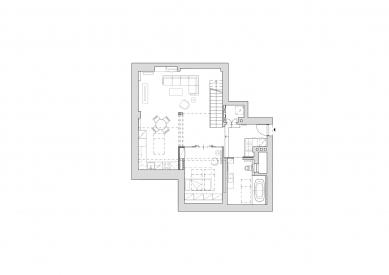 Byt v Haštalské - Půdorys dolního podlaží - foto: Studio acht