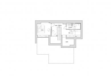 Byt v Haštalské - Půdorys horního podlaží - foto: Studio acht