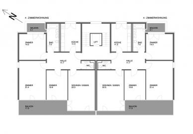 Tři bytové domy na Luzerner Ring - Půdorys typického patra - foto: © Jura Oplatek Architekt SIA