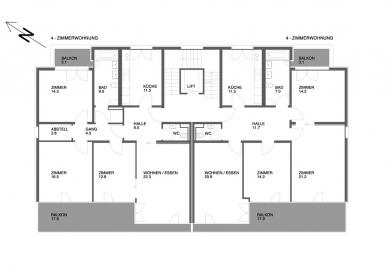 Tři bytové domy na Luzerner Ring - Varianty řešení bytů - foto: © Jura Oplatek Architekt SIA