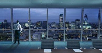 London Bridge Tower - Výhled ze zasedací místnosti kancelářského patra - foto: © Hayes Davidson and John Maclean