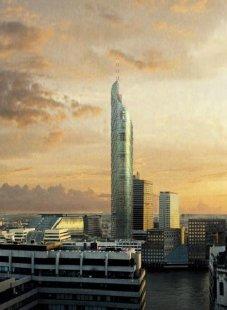 London Bridge Tower - Původní návrh architektonické kanceláře Broadway Malayan měřil 1265 stop (421m).