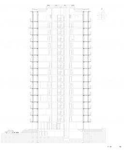 Rekonstrukce věžového domu Bois-le-Prêtre - Příčný řez - foto: Lacaton & Vassal