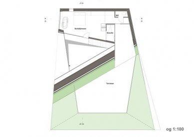Plechový dům u Lince - Půdorys patra - foto: Caramel Architekten