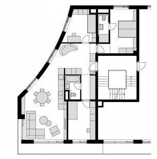 Rekonstrukce a návrh interiéru bytu ve Vršovicích - Půdorys